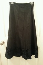 SOLITAIRE Long Trumpet Skirt Size S Rosette Detail Boho Gypsy Peasant Mo... - $28.91