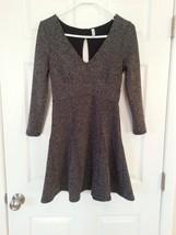 Free People HEARTSTOPPER Petite Fit & Flare Mini Dress Size SP Gray Keyhole $118 - $34.62