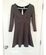 Free People HEARTSTOPPER Petite Fit & Flare Mini Dress Size SP Gray Keyh... - $34.62