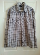 VANS Clear Pearl Snap Button Down Plaid Shirt Long Sleeve Gray - Size L - EUC - $17.33