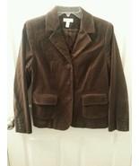 Charter Club Petite Sz 10P Velvet Velour 3 Button Jacket Blazer Brown - $29.67