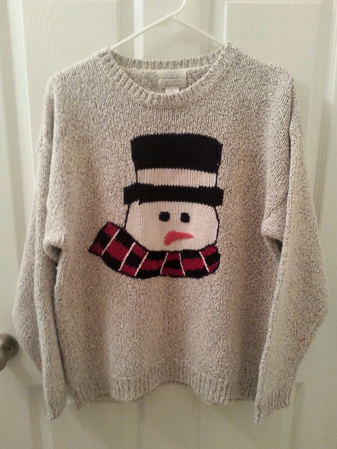 Primary image for Christopher & Banks Size L Hand Embroidered SNOWMAN Sweater  Holiday Ugly WINNER