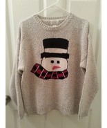 Christopher & Banks Size L Hand Embroidered SNOWMAN Sweater  Holiday Ugl... - $22.14