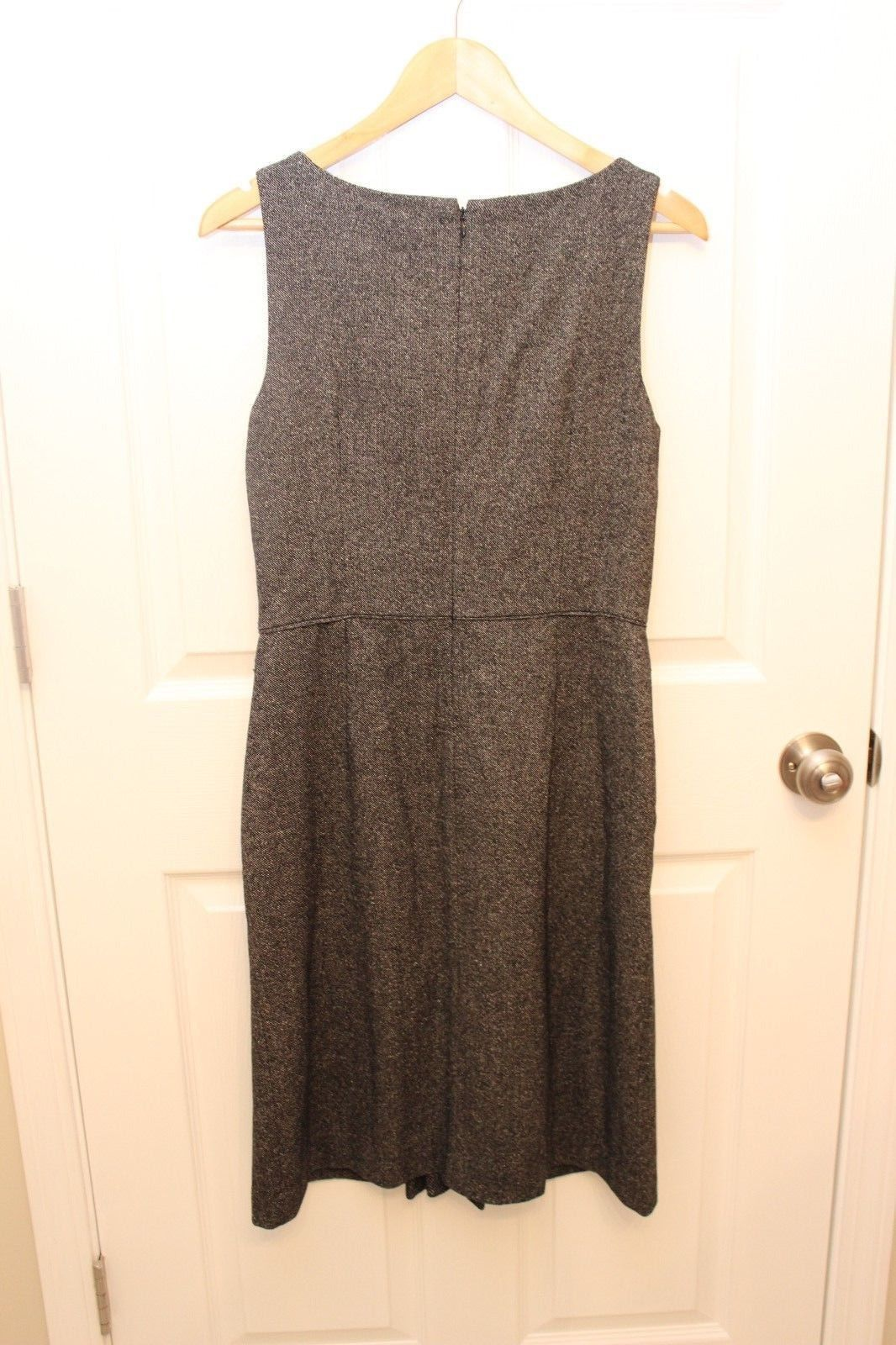 Ann Taylor LOFT Dress 6 Womens Black Fleck Wool Blend Tweed Sheath Pleat Detail