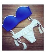 Fake Pearl Bikini Tie-up Women Sexy Swimwear Swimsuit Bathing Suit - $17.99
