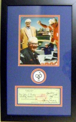 Primary image for Harry Caray autographed framed check masterpiece with patch (Chicago Cubs)