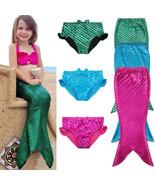 Kids Fairy Mermaid Tail Swimmable Bikini Set Top Bathing Suit Fancy Cost... - $12.98