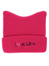 D&Y Women's March Top Cat Ears Embroidered Hot Pink Cuff Beanie Pussycat... - €9,05 EUR