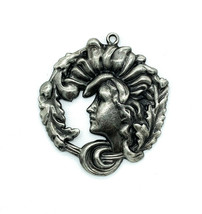 Vintage Art Nouveau Revival Silver Plated Lady Leaves In Hair Pendant - $71.99