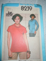1977 Simplicity Misses Size 14-16 Jiffy Knit Pullover Top Pattern #8239 ... - $4.99