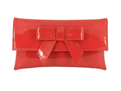 LONI Womens Cute Patent Faux Leather Clutch bag/Shoulder Bag in Red