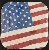 """PATRIOTIC AMERICAN PAPER PLATES 9"""" Square 14/Pk, SELECT Plate Theme: Flag or ... - $3.95"""