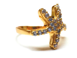 Star fish simulated diamond 24k gold filled wedding ring proposal marry ... - $763,42 MXN