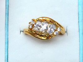 Shiny simulated diamond 24k gold filled wedding ring proposal marry ring - $768,04 MXN
