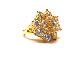 3 layer Flower style simulated diamond 24k gold filled wedding proposal ... - $768,04 MXN