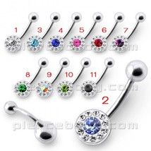 Fancy Jeweled Silver Banana Bar Belly Button Ring - $7.76