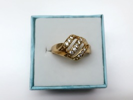 High quality simulated diamond 24k gold filled wedding ring proposal mar... - $763,42 MXN