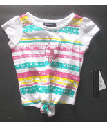 BABY PHAT Toddler Girls sizes 2T or 4T White with Colored Stripes T-Shir... - $11.19