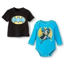 Batman 2 Tops Infant Boys' Bodysuit and T-Shirt Black/Blue Size Newborn NWT - $11.89