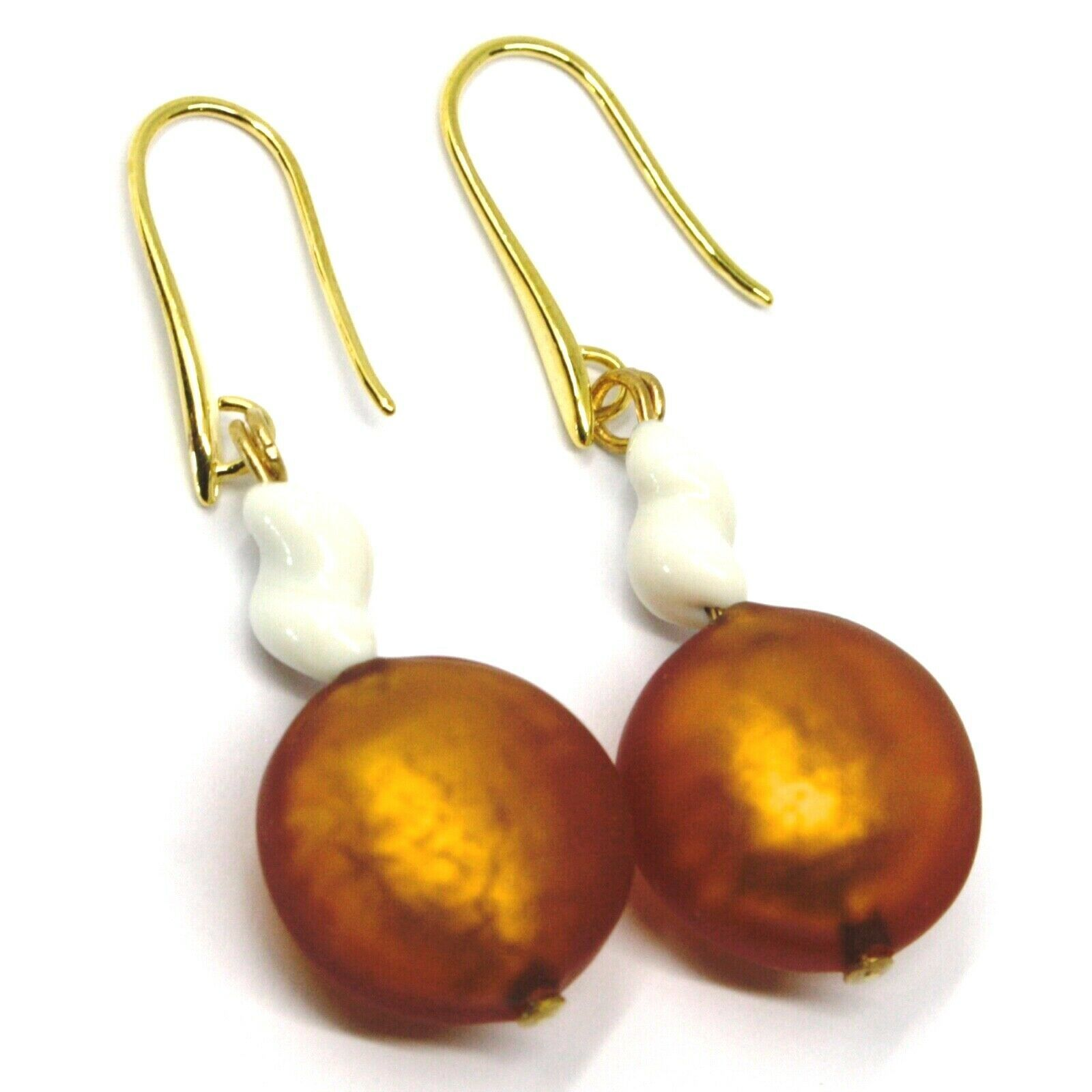 PENDANT EARRINGS ORANGE WHITE DISC MURANO GLASS GOLD LEAF SPIRAL MADE IN ITALY