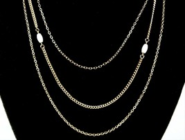 Avon MOTHER OF PEARL BEAD Accents Triple Strand NECKLACE Vintage Goldton... - $12.99