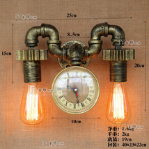 Antique Bronze Steampunk Double Pipe Gear Sconce E27 Light Industrial Wall Lamp  - $125.45