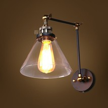 Restoration Library Swing Arm Clear Glass Sconce Adjustable Wall Lamp E27 Light - $59.99