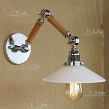 Vintage Swing Arm Sconce E27 Light White Glass Chrome Finish Wall Lamp Adjustabl - $98.85+