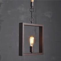 Retro Square Pendant Ceiling Lamp Aged Steel E27 Light Indoors Lighting Fixture - $72.34