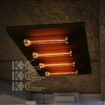 Loft 4 Edison Filament Bulb Flush Mount Ceiling Lamp E27 Light Lighting Fixture - $259.12
