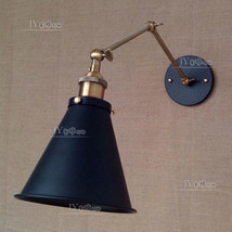 20TH C. Library Swing Arm Sconce - Aged Steel  Wall Lamp E27 Light Wallmount - $83.95