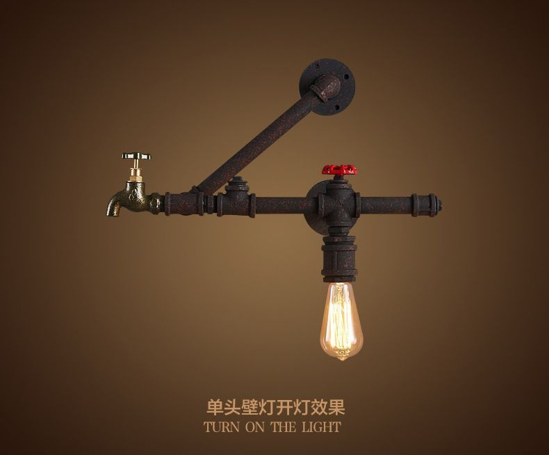 Antique Black & Rust Steampunk Pipe Sconce E27 Light Wall Lamp Faucet Lighting
