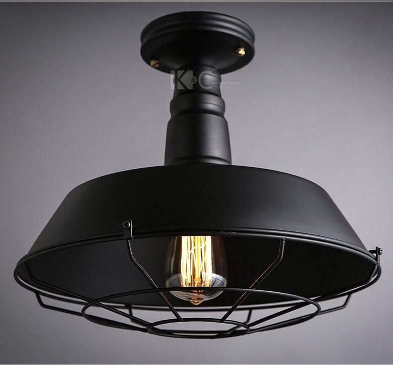 Vintage Barn Flushmount Semi Caged - Black Restoration Ceiling Lamp Single Light