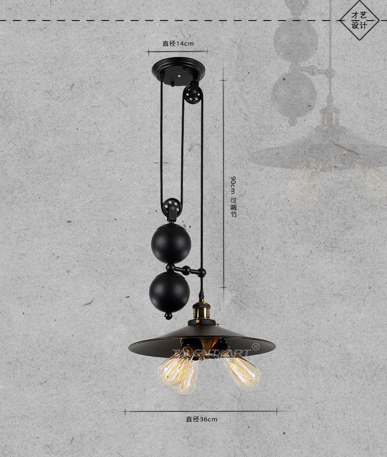 20TH C. Filament Triple Factory Pulley Pendant E27 Light Ceiling Lighting Lamp