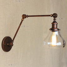 Antique Rust Swing Arm Boulangerie Clear Glass Sconce E27 Light Cafe Wall Lamp - $96.43