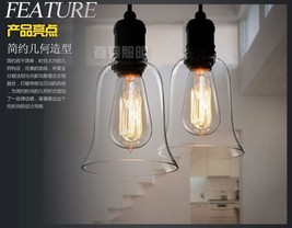 Retro Barn Filament Clear Glass Trumpet Pendant Lamp E27 Light Lighting Fixture - $48.18