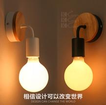 Modern Bare Bulb Wood & Metal Sconce E27 Light Wall Lamp Loft Lighting Fixture - $28.95