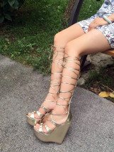 PS229 elegant gladiator high wedge sandals,pu suede leather, size 36-42, gold - $68.80