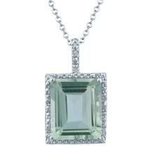 5.50 tcw Emerald Cut Amethyst & Diamond Halo Pendant .925 Silver - $50.00
