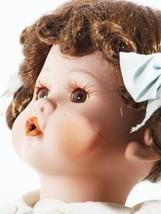 "Doll 15"" Inches Porcelain Dark Hair Blue Eyes Light Blue Dress (B16B17) - $49.49"