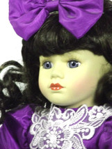 """Brass Key Doll 16"""" Inches Porcelain Collectible Vintage Purple Dress (B5*) - $45.53"""