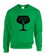 Adult Crewneck That's What I Do I Drink And Know Things Wing Glass Ty - $17.94+
