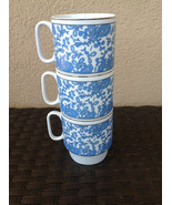Set of three (3) Chinese Porcelain Stackable Cup Mug - White with Blue P... - $9.99