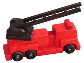 RED FIRE ENGINE LADDER TRUCK WOOD TOY  Amish Handmade Wood Waldorf Toys ... - $55.41
