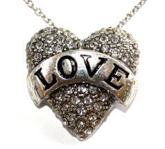Girls Silver Valentine His Banner Over Me is Love Heart Pave Crystal Necklace - $7.93