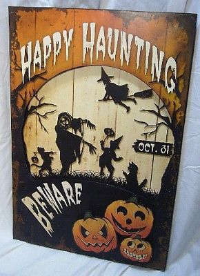 Bethany Lowe Halloween Happy Haunting Tin Sign