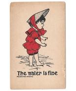 Dorothy Hillson Vintage 1907 Artist Signed Postcard The Water is Fine - $4.99