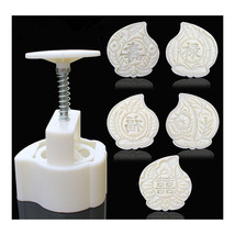 Moon Cake Pastry Mold Hand Pressure 125g One Barrel 5 Flower piece baking - $16.14