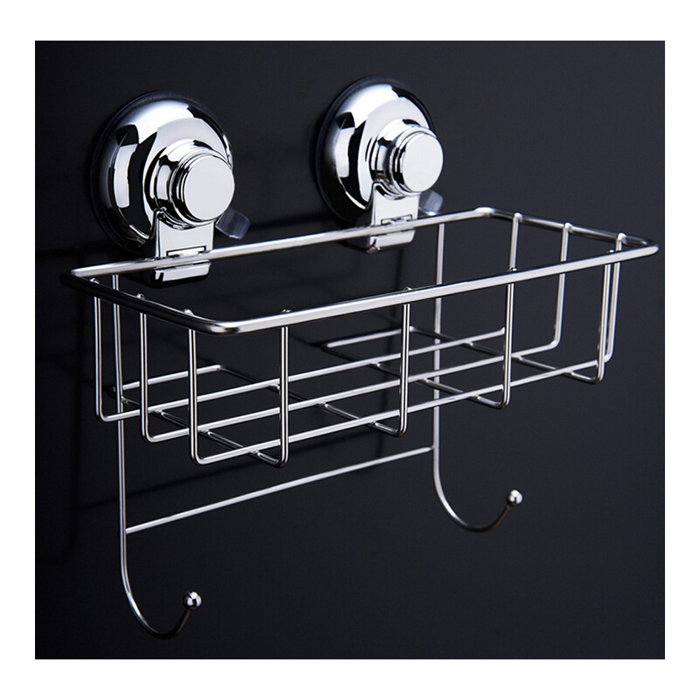 Primary image for Vacuum Suction Cup Bathroom Kitchen Storage Basket with 2 hooks Hook Holder