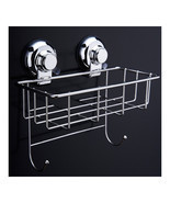 Vacuum Suction Cup Bathroom Kitchen Storage Basket with 2 hooks Hook Holder - £19.52 GBP